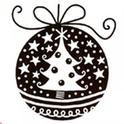 Tampon bois - Boule de Noël...