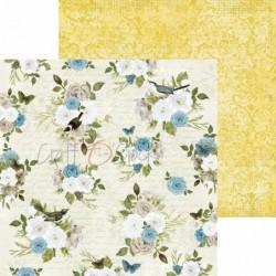 Tampon bois - Mariage avec des fleurs coeurs et oiseaux - Aladine